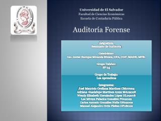 Universidad de El Salvador Facultad de Ciencias Económicas Escuela de Contaduría Pública