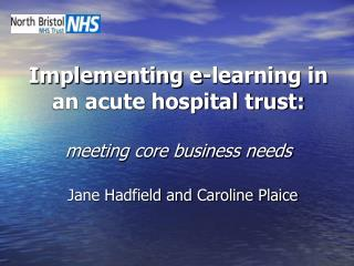 Implementing e-learning in an acute hospital trust: meeting core business needs