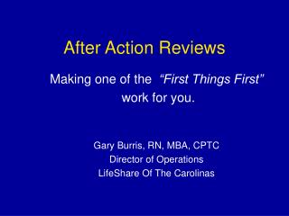 After Action Reviews