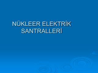 NÜKLEER ELEKTRİK SANTRALLERİ
