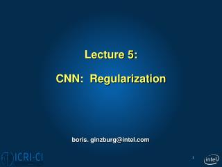 Lecture 5: CNN:  Regularization