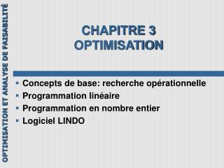 CHAPITRE 3 OPTIMISATION