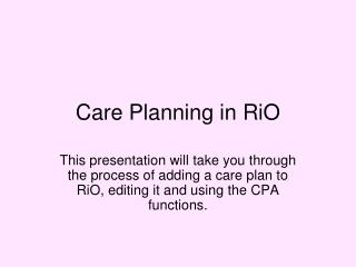 Care Planning in RiO