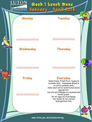 Week 1 Lunch Menu January - April 2014