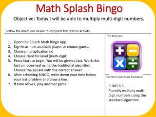 Math Splash Bingo