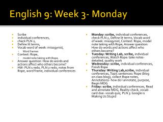 English 9: Week 3- Monday