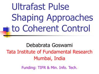 Ultrafast Pulse Shaping Approaches to Coherent Control