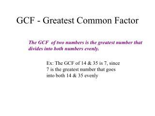 GCF - Greatest Common Factor