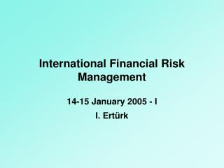 International Financial Risk Management