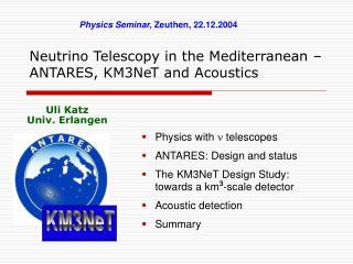 Neutrino Telescopy in the Mediterranean – ANTARES, KM3NeT and Acoustics
