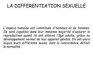 LA DIFFERENTIATION SEXUELLE