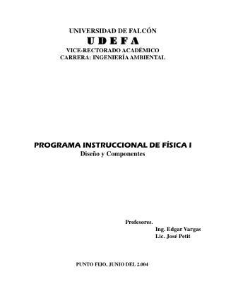 UNIVERSIDAD DE FALCÓN U D E F A VICE-RECTORADO ACADÉMICO CARRERA: INGENIERÍA AMBIENTAL