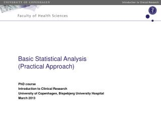 Basic Statistical Analysis (Practical Approach)