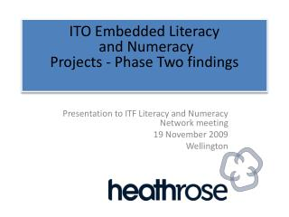 ITO Embedded Literacy  and Numeracy  Projects - Phase Two findings