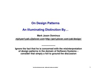 On Design Patterns An Illuminating Distinction By…
