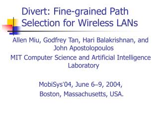 Divert: Fine-grained Path Selection for Wireless LANs