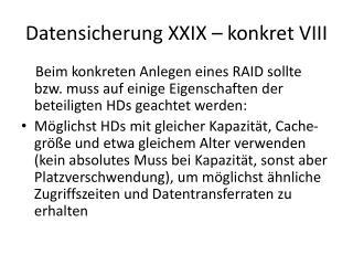 Datensicherung XXIX – konkret VIII