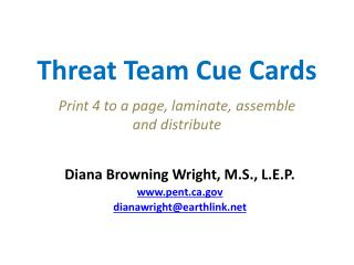 Threat Team Cue Cards