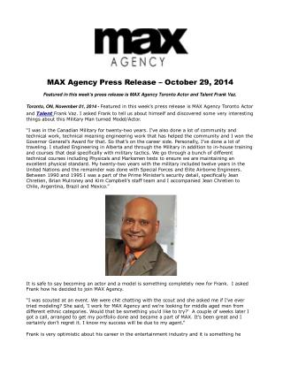 MAX Agency Press Release � October 29, 2014