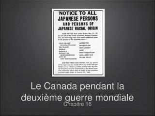 Le Canada pendant la deuxième guerre mondiale
