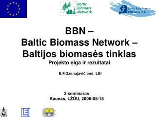 BBN –  Baltic Biomass Network – Baltijos biomasės tinklas Projekto eiga ir rezultatai