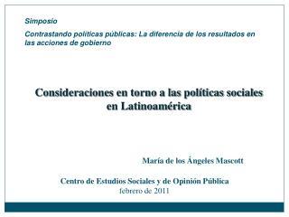 Consideraciones en torno a las políticas sociales en Latinoamérica