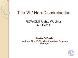Title VI / Non-Discrimination