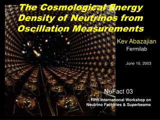 The Cosmological Energy Density of Neutrinos from Oscillation Measurements
