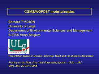 CGMS/WOFOST model principles