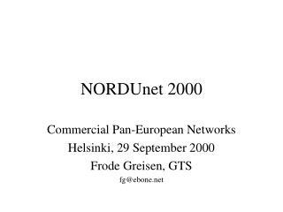 NORDUnet 2000