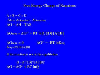 Free Energy Change of Reactions
