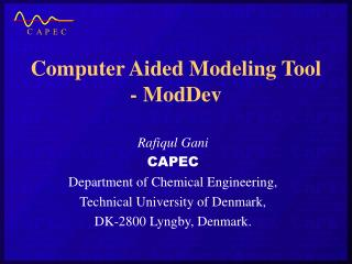 Computer Aided Modeling Tool - ModDev