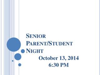 Senior Parent/Student Night