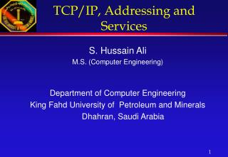 TCP/IP, Addressing and Services