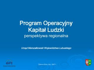 Program Operacyjny  Kapital Ludzki