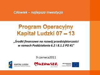 """""""Środki finansowe na rozwój przedsiębiorczości  w ramach Poddziałania  6.2 i 8.1.2 PO  KL"""""""