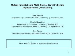 Output Substitution in Multi-Species Trawl Fisheries: Implications for Quota Setting
