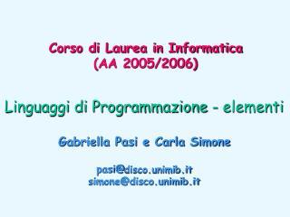 Linguaggi di Programmazione - elementi