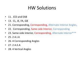 HW Solutions