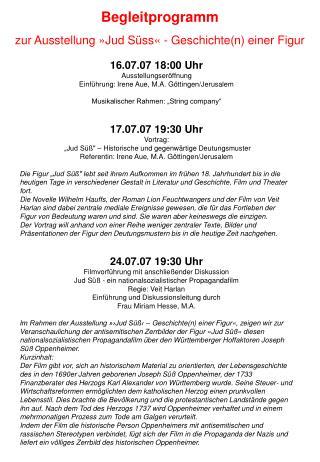 16.07.07 18:00 Uhr Ausstellungseröffnung Einführung: Irene Aue, M.A. Göttingen/Jerusalem