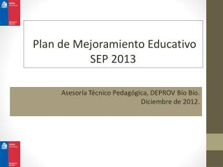 Plan de Mejoramiento Educativo SEP 2013
