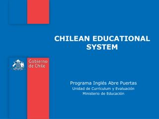 CHILEAN EDUCATIONAL  SYSTEM