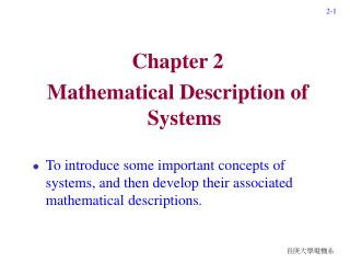 Chapter 2 Mathematical Description of Systems