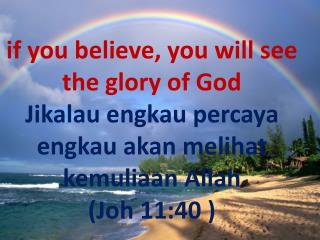 if you believe, you will see the glory of God