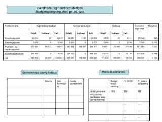 Sundheds- og handicapudvalget Budgetopf�lgning 2007 pr. 30. juni
