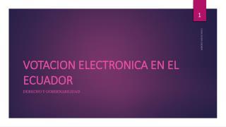 VOTACION ELECTRONICA EN EL ECUADOR