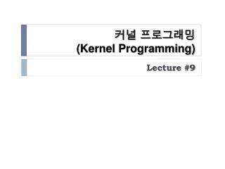커널 프로그래밍 (Kernel Programming)