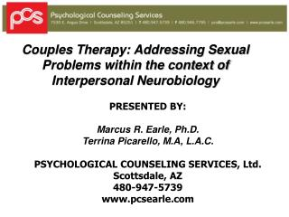 Couples Therapy: Addressing Sexual Problems within the context of Interpersonal Neurobiology