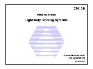 Light-Duty Steering Systems