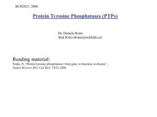 Protein Tyrosine Phosphatases PTPs